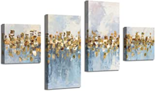 Abstract Art Seascape Picture Paintings: Glowing Sandy Forest Gold Foil Oil Painting Print on Canvas for Walls