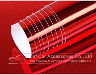 The Newest High Stretchable Waterproof UV Protected Silver Gold Chrome Mirror Vinyl Wrap Sheet Roll Film Car Sticker Decal Sheet Red 152cm X 40cm