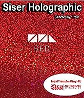 """Siser ホログラフィック HTV 19.66インチ ロール 20"""" x 1 Yard レッド HG20P1SH"""