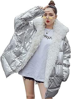 2019 Women's Down Parkas Winter Jacket Shiny Silver Fashion Women Loose Fur Collar Warm Winter Coat Outwear,Silver,S