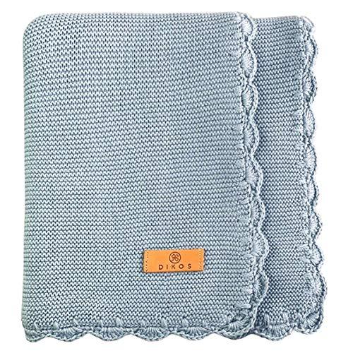 Manta para bebé de algodón con dobladillo de ganchillo hecho a mano, color azul, de 100% algodón orgánico GOTS para niña/niño