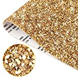 15.74 x 9.45 Inch Bling Crystal Resin Rhinestones Sticker Sheet, DIY Self-Adhesive Car Decoration Sticker, Glitter Crystal Rhinestone Sheet, for Car Phone Case Glass Shoes Clothing Decorations ( gold)