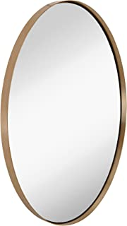 Hamilton Hills Contemporary Brushed Metal Wall Mirror | Oval Gold Framed Rounded Deep Set..