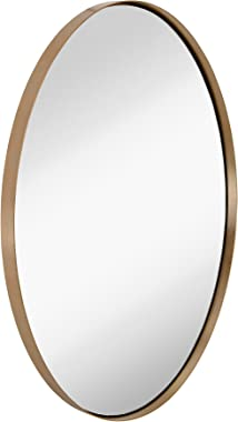 Hamilton Hills Contemporary Brushed Metal Wall Mirror | Oval Gold Framed Rounded Deep Set Design | Mirrored Hangs Horizontal