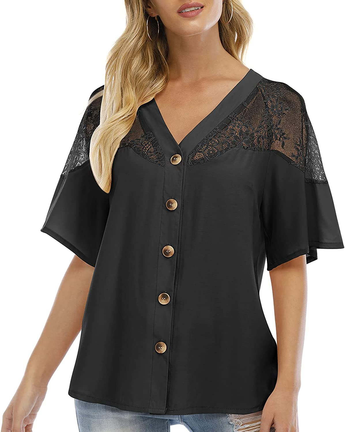 Airmiuu Womens Button Down Blouse V Neck Short Sleeve Lace Tops Loose Casual Shirt