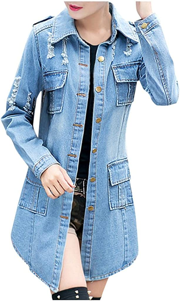 Lovor Women's Casual Distressed Ripped Jacket Jean Long Super popular specialty store Dr Max 78% OFF Denim