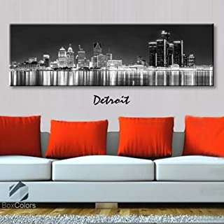 Original by BoxColors Single panel 3 Size Options Art Canvas Print Detroit City Skyline Panoramic Downtown Night black & white Wall Home Office decor (framed 1.5