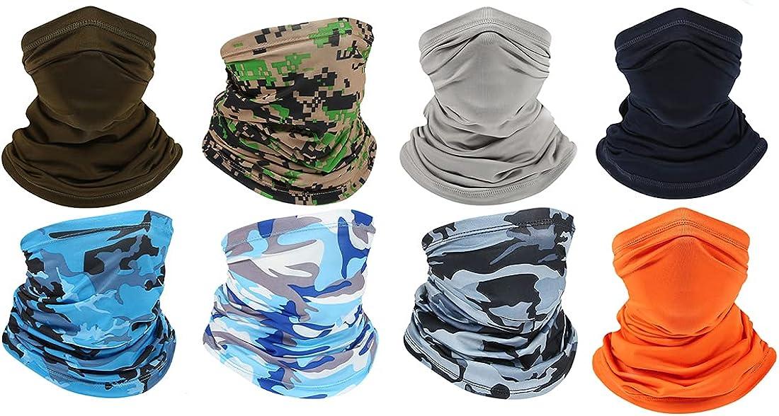 DYYGIRL 8 Pieces Mens Balaclava Bandana Breathable Face Scarf Sun UV Protection Neck Gaiter Windproof Dustproof