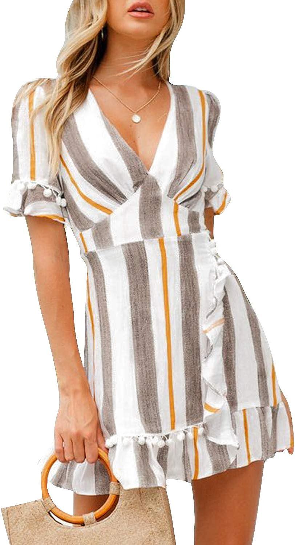 Simplee Women Sexy Deep V-Neck Short Sleeve Striped Print Mini A Line Dress