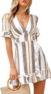 چاپ ساده آستین کوتاه زنانه سکسی عمیق V- گردن چاپ کوتاه خط لباس