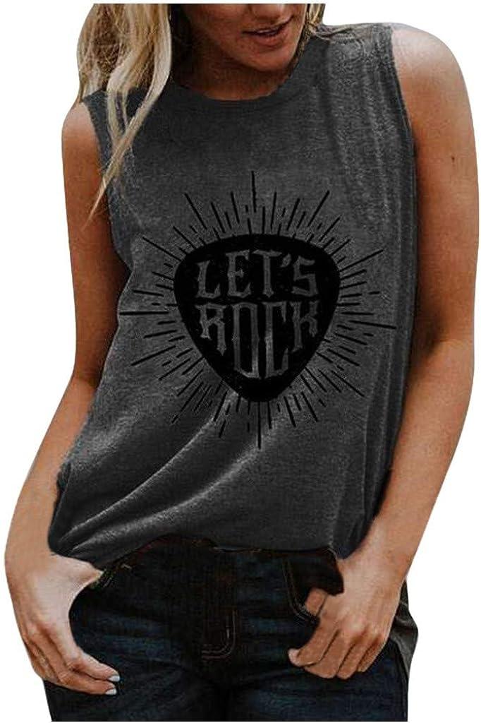 Tops for Women Casual Summer Clearance,Print Tank Tops Women T Shirt Summer Loose Vest Tees