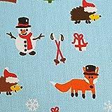 Stoff Meterware Weihnachtsstoff hellblau Schneemann Fuchs