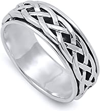 Double Accent Sterling Silver Wedding & Engagement Ring Celtic Design Spinner Wedding Band 8mm (Size 4 to 14)