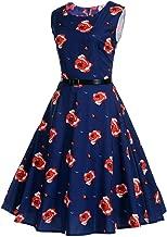 NDJqer Plaid Print Vintage Dress Women Summer Floral Swing Party Dress 50s 60s Plus Size