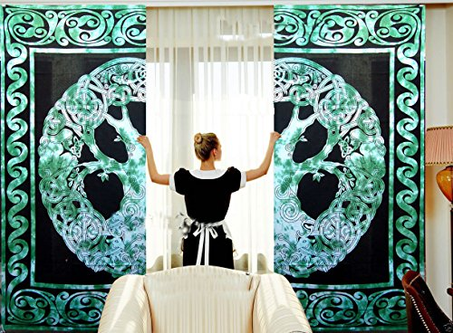 Tye and Dye Multi Yoga Mandala Tapestry Room Curtains Boho Sheer Curtains Mandala Window Rod Pocket Cotton Curtain Hippie Tapestry Door Curtain Drape Balcony Curtains (Green Celtic)