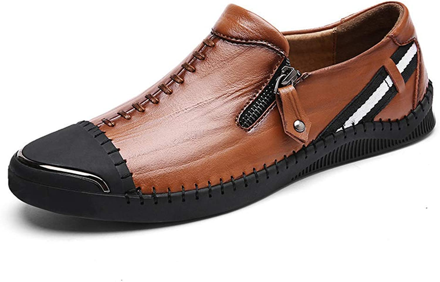 ZHRUI Men Genuine Leather shoes Casual Comfortable Fashion Walking shoes Slip On shoes Travel shoes (color   Brown, Size   7 UK)