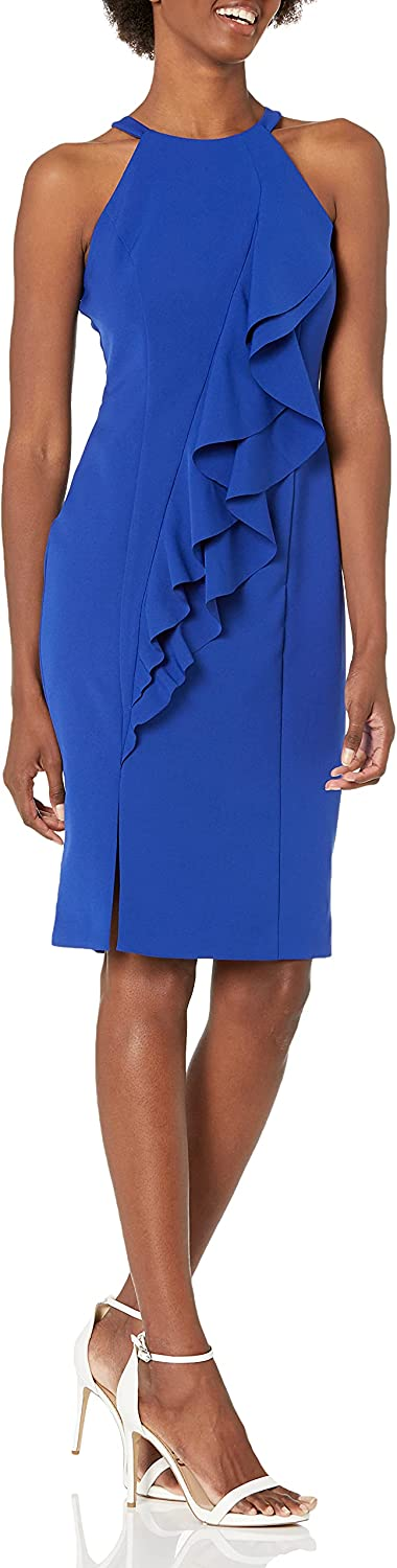 Vince Camuto Women's Crepe Halter Neck Bodycon Dress with Front Rufflfe
