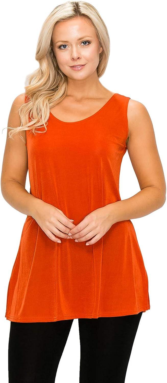 Jostar Women's Stretchy Vented Tunic Tank Top Sleeveless
