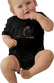 PORRO Baby Boy Girl Round Neck Short-Sleeve Jersey Bodysuit Baby Shark at A TIME DO DO DO Funny Crawling Clothes Black