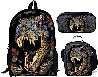 Juego de 3 bolsas de escuela para niños, mochila con bolsa de almuerzo, bolsa de lápices de dinosaurio, lobo, fútbol impreso, Mochila infantil, Multicolor