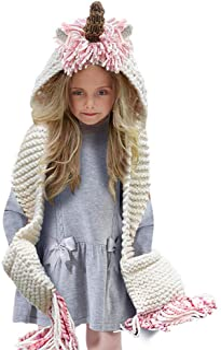 Tacobear Crochet Cartoon Unicorn Winter Hat with Scarf Pocket Hooded Knitting Beanie for Girls