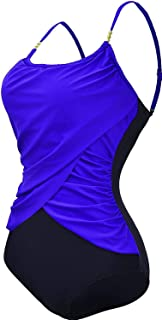 Ling-long Women's Vintage Plus Size One Piece Beads Halter Bathing Suits Ruched Swimwear