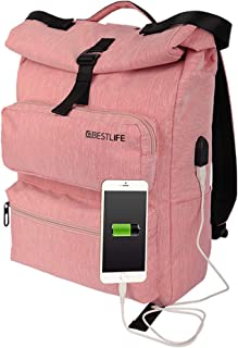 Casual Daypack for Men & Women Travel Outdoor Backpack Should Bag with Connector (Pink)