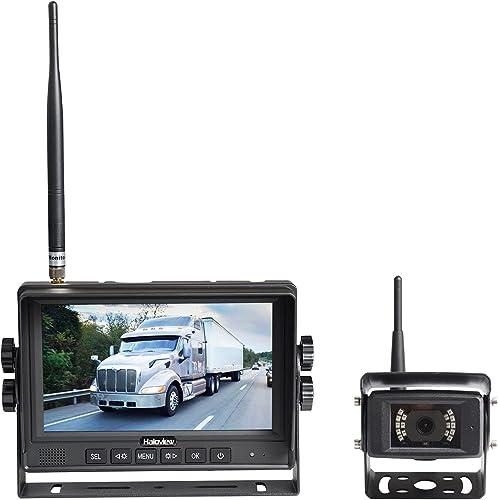 Haloview MC7108 7'' 720P HD Digital Wireless Rear View Camera System 7'' LCD Reversing Monitor and IP69K Waterproof B...