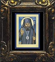 Trinity Stores Mini Magnet Framed Religious Art Print - Antique Black-3¾x4¼ - St. John Maximovitch of San Francisco by Br. Robert Lentz, OFM