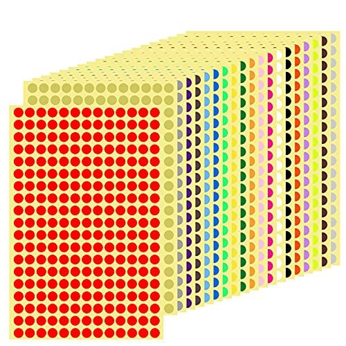 5200pcs 20 Hojas Pegatinas Redondas Colores, Etiquetas Adhesivas Redondas, Circulos Colores Adhesivos, Pegatinas Adhesivos de Colores, Etiquetas autoadhesivas para Oficina Escuela Calendarios, 8mm