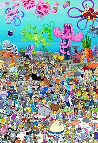 lcyqq puzzle Juegos 1000 piezas madera Jigsaw adultos niños educativos Chico Chica Regalo de Cumpleaños y Vacaciones Bob Esponja