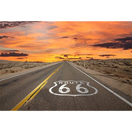 8x8ft Route 66 Road Sign in Arizona USA Backdrop Country Highway Photography Background American Automobile Travel Landscape Outdoor Sky Expressway Landmark Photo Studio Props Vinyl Wallpaper