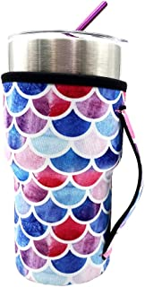 Neoprene Insulated Sleeves Cup Cover Holder Idea for 20oz Tumbler Cup, 20oz YETI Rambler Ozark Trail Rtic, Starbucks Venti Cold (Only Cup sleeves) (Mermaid)