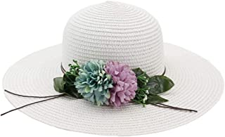 Sun Hat for men and women Fashion Wide-brimmed Double Straw Hat Panama Hat Ladies Beach Visor Foldable Hat Flower Sun Hat