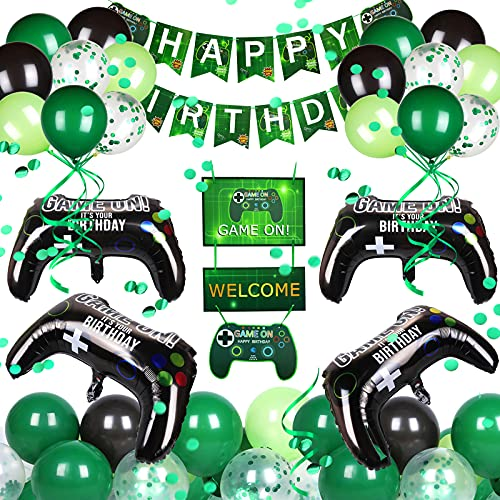 Nabance Decoración de Cumpleaños para Niños, 52 Artículos de Fiestas para Fanáticos de los Videojuegos, Fiesta de Cumpleaños Temática del Juego, Globos del Controlador del Juego