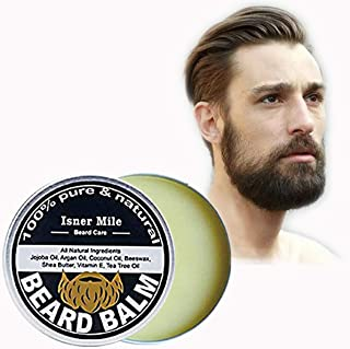 AJUMKER Bálsamo de Barba Natural Cuidado Bálsamo de Cera Hombres Barba Fortalecer Cuidado Estilo Jojoba Aceite de Árbol de Té Vitamina E Hidratante Barba Suave Nutritiva