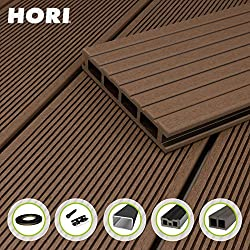 HORI® WPC BPC Decking I Cavity board brown I Complete set incl. Substructure & clips II Plank length 2,9 m I Area 5 m²