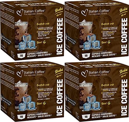 64 Capsulas de Café Helado Dolce Gusto - Bebidas Frias Compatibles Dolce Gusto - Café en Cápsulas para preparar con Hielo