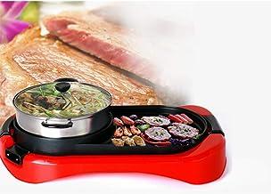 Hoge Kwaliteit Indoor Non-stick Elektrische BBQ-grill Met Hete Pot Pan 2 In 1 Rode Draagbare Elektrische Pan Shabu Hete Po...