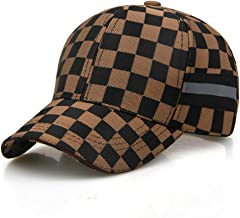 Unisex Adjustable Fashion Leisure Baseball Hat,Classic Lattice Sunshade Cap