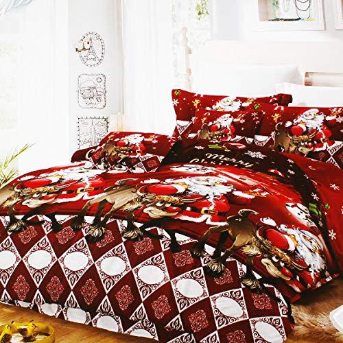 Edredón de invierno moderno para cama individual, diseño de Papá Noel, reno, color rojo