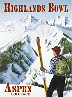 Aspen Highlands Bowl Vintage Colorado Ski Poster, 18 x 24 inches