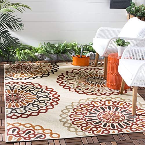 "Safavieh Veranda Collection VER092-0313 Indoor/ Outdoor Cream and Red Contemporary Area Rug (4' x 5'7"")"