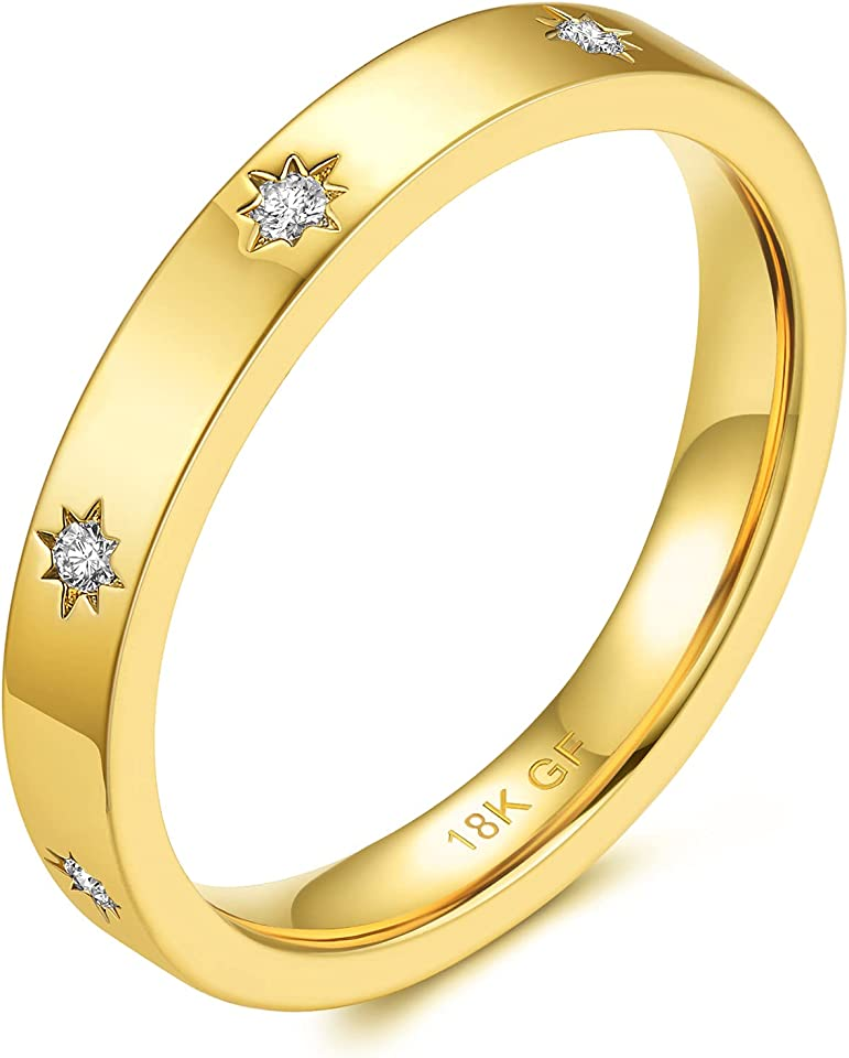 JINEAR 3mm Wedding Bands 18K Gold Filled North StarStackable Rings for Women and Men Cubic Zirconia Ring Gold Band Size 5 to 10