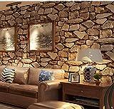 Birwall Faux Rustic Brick Stone Wallpaper Wall Paper for Livingroom Kitchen Bedroom,20.8 In32.8 Ft=57 Sq.ft (5708)