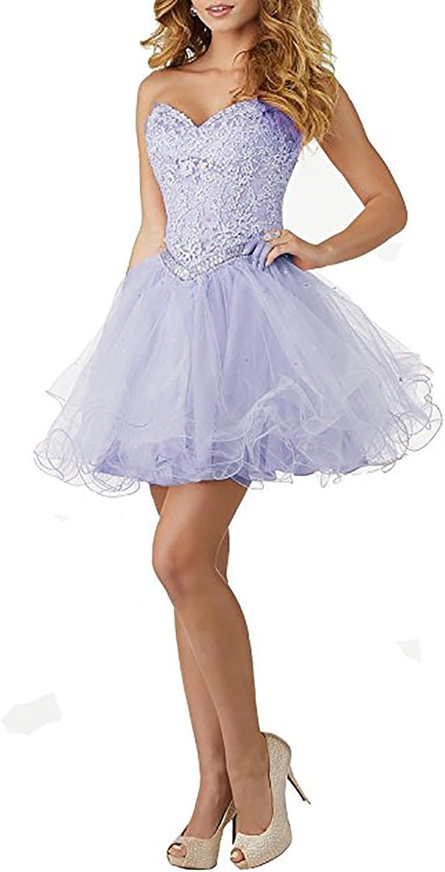 YSMei Women's Short Lace Bodice Prom Dress Juniors Layered Tulle Dress HC100