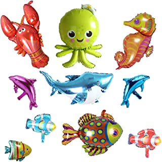 Ocean Animals Foil Balloons Under the Sea Cartoon Creatures Balloon Decorations Sea Horse Octopus Lobster Shark Dolphin Tropical Fish Balloons for Wedding Festival Birthday Party Supplies 10 Pack