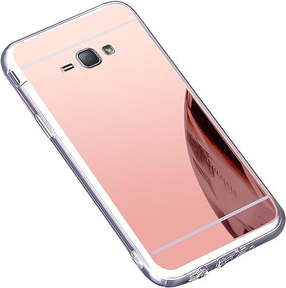 Coque Galaxy J1 2016,Miroir Housse Coque Silicone TPU pour Samsung Galaxy J1 2016,Surakey Bling Briller Diamond Coque Miroir Etui TPU Téléphone Coque ...
