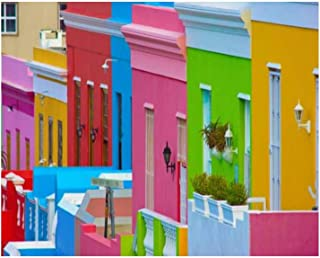 Paint By Numbers Colorful Bo Kaap neighborhood Cape Town South Africa Digital Coloring Oil Painting Canvas With Inner Fram...