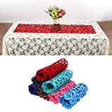Guida da tavolo in feltro, 102x 29cm, motivo a fiori intagliati, elemento decorativo per la tavola da pranzo, lavabile, Red, Taglia libera